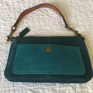 Suede and leather Coach bag